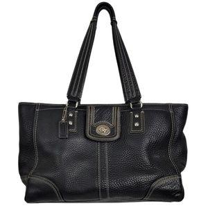 Coach Black Pebble Leather Hampton Large Tote Bag Turnlock Detail f13960